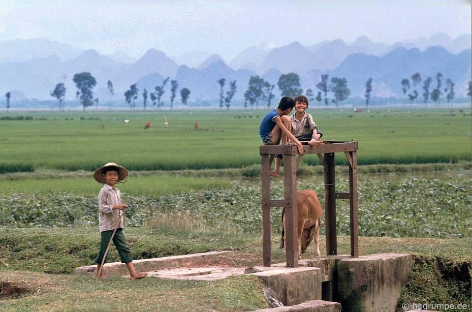 Trẻ em ở đập của kênh thủy lợi
