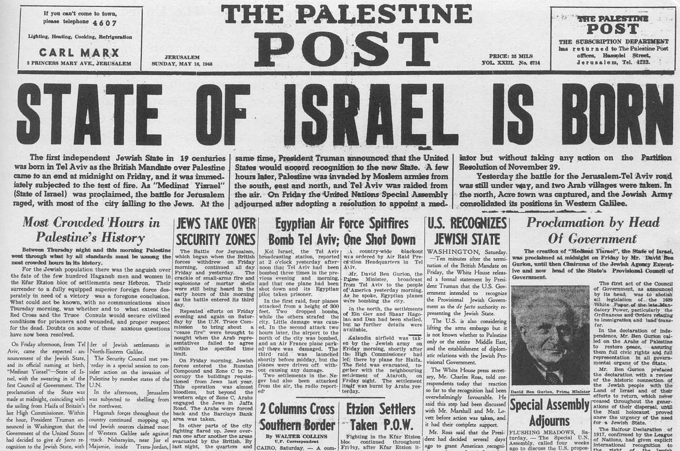 Nhà nước Israel đã được thành lập như thế nào?