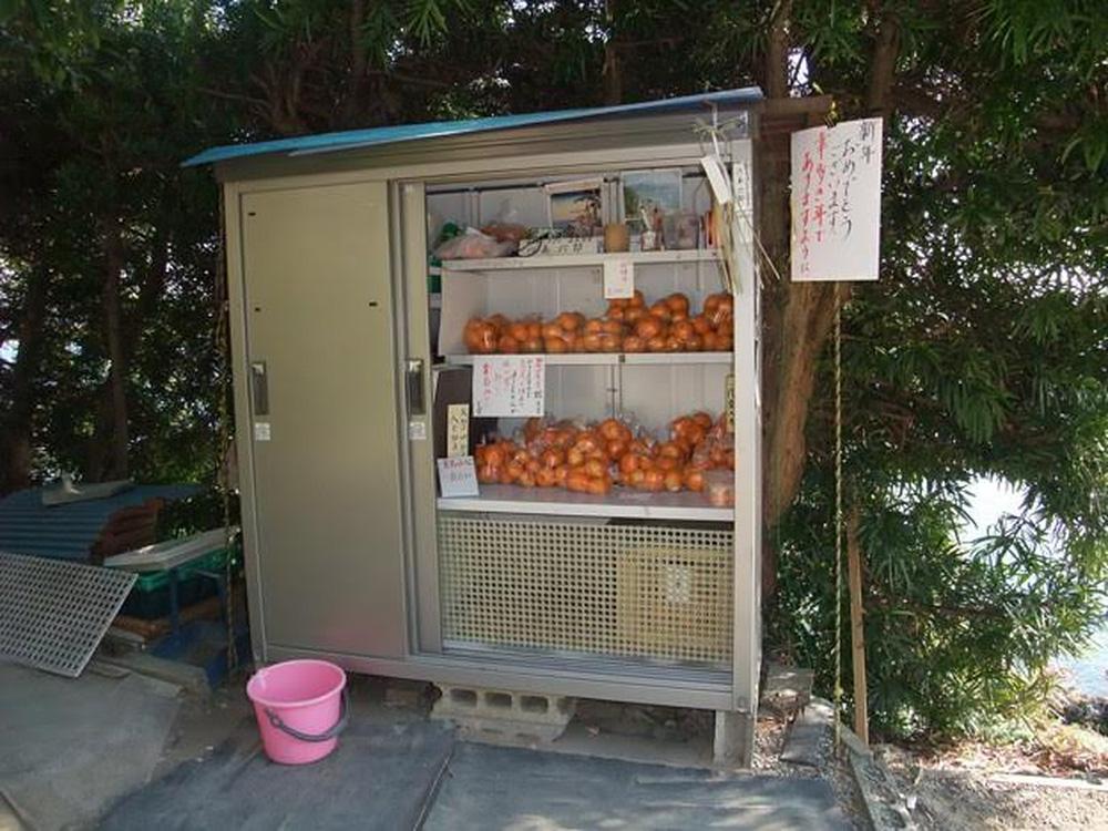 """Không chỉ rau, mà hoa quả như quýt cũng được nhiều nông dân Nhật bán tại những cửa hàng không người như thế này.Tấm biển góc phải có dòng chữ: """"Chúc mừng năm mới quý khách"""". Giá mỗi bịch quýt tại đây chỉ 100 Yên.Chủ hàng đồng thời để lại số điện thoại, để khách có thể liên hệ nếu cần. Ảnh chụp tại thị trấn Maisaka thuộc tỉnh Shizuoka.<br>"""