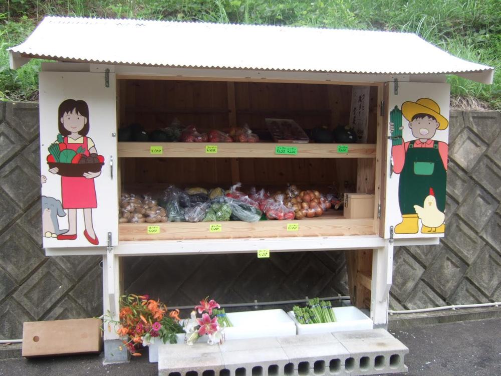 Một gian hàng bán rau tại tỉnh Fukui thuộc đảo Honshu của Nhật. Ảnh được chụp vào mùa hè năm 2009 và được một người dùng đưa lên tài khoản Yahoo.