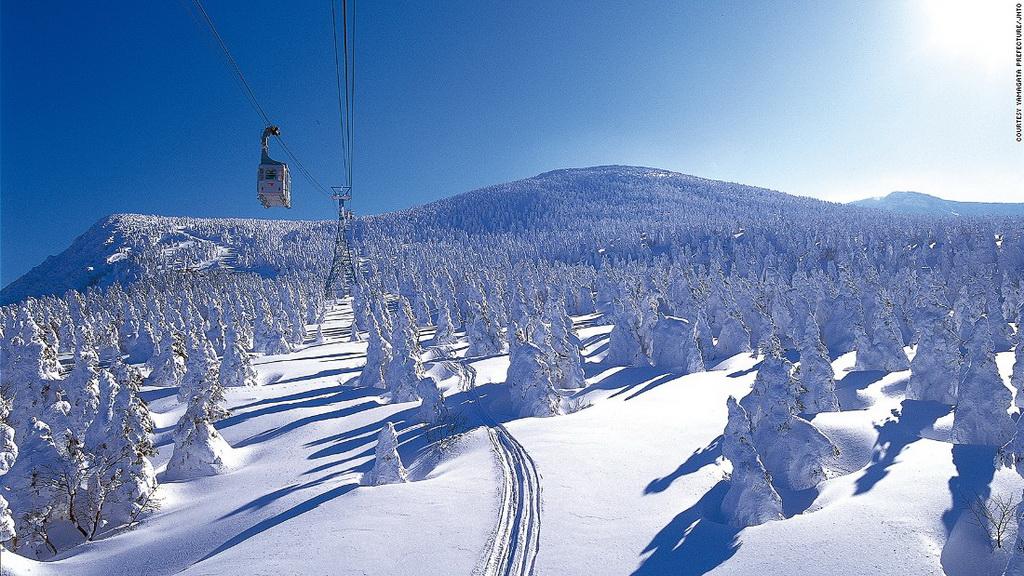 Khu trượt tuyết Zao (Yamagata): Với 15 sườn dốc và 12 đường trượt khách nhau, Zao là một trong những khu trượt tuyết nổi tiếng nhất Nhật Bản. Du khách tới đây không phải chỉ để trượt tuyết mà còn để chiêm ngưỡng những cây thông phủ tuyết trắng xóa.