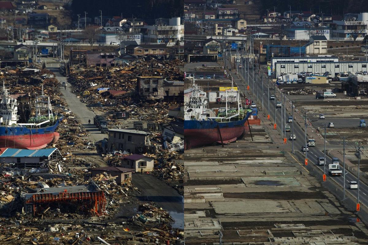 Chùm ảnh: So sánh sự đổi thay sau 10 năm thảm họa sóng thần Nhật Bản